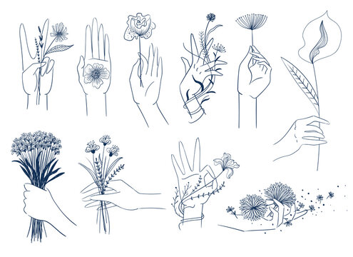 Set of elegant female hands with flowers