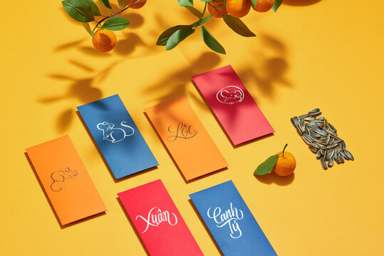 Decoration for Vietnam Tet holiday, also lunar new year. Lucky envelopes for Best wishes.