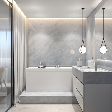 3D RENDERING MODERN BATHROOM WITH LIGHT BLUE MARBLE AND MODER BATHTUB