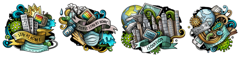 Epidemic cartoon raster doodle designs set.