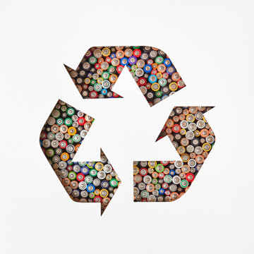 Recycling symbol from batteries.
