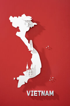 Vietnam map and Landmarks in travel and tourist attraction made from paper
