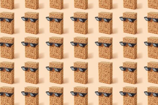 Sponges in pixel glasses pattern.