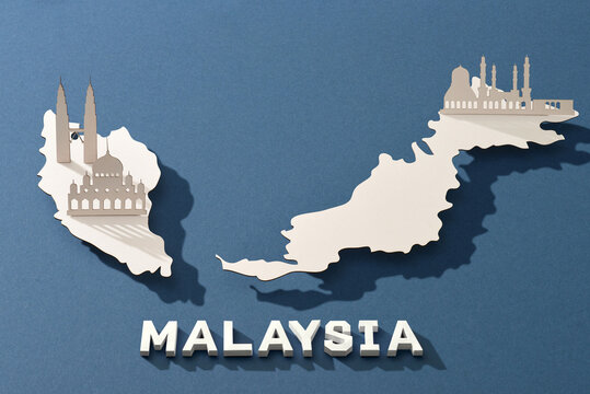 Malaysia map with famous landmarks in paper cut style