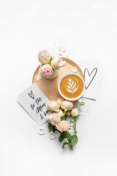 Greetig card, coffee and roses.
