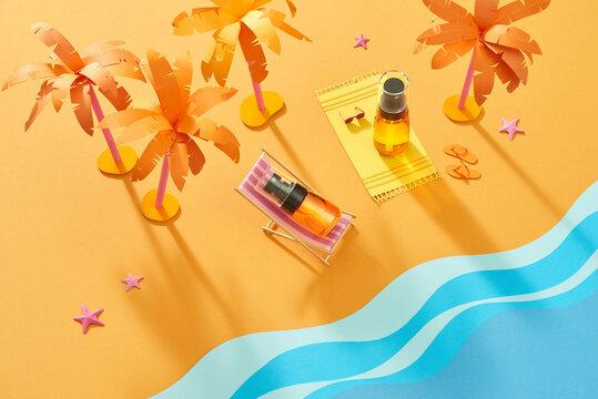 Flat lay summer sunscreen banner ads