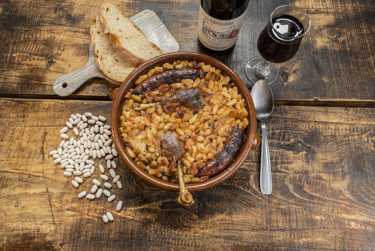 CANILLO, ANDORRA - Nov 24, 2020: French specialty: cassoulet, a meal with white beans, duck leg,