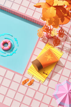 Summer pool party invitation with sunscreen near swimming pool. Paper cut concept.