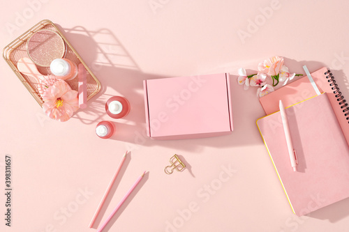 Beauty composition with gift boxes
