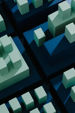 Conceptual representation of a city or financial district in blue tones