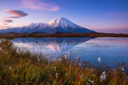 Morning sunrise on Tolbachik volcano Kamchatka.
