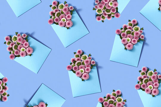 Creative pattern from flowers in envelopes.