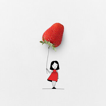 Girl with natural strawberry balloon.