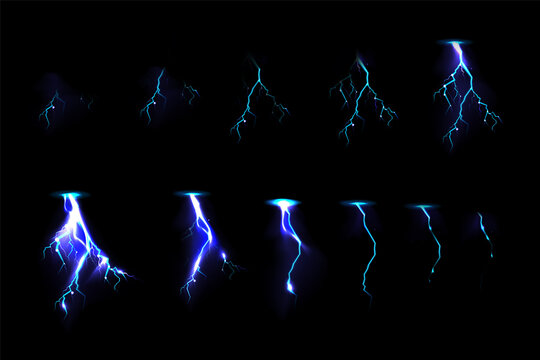 Sprite sheet with lightnings, thunderbolt strikes set for game fx animation. Vector realistic set of blue electric impact at night, sparking discharge of thunderstorm isolated on black background