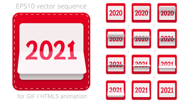 Animated flip calendar from 2020 to 2021. Vector date flipper for announcing New Year's events. Red 3D icon of counter. Sequence for GIF, HTML and flash animation. Sprite sheet. 12 frames per second.