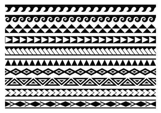 Tribal maori tattoo patterns collection. Abstract aboriginal borders.