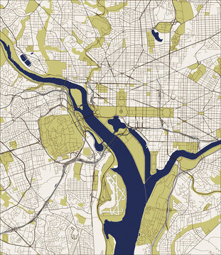 Abstract vector map of the city of Washington D.C., USA.