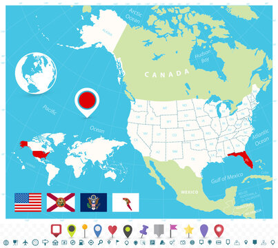 Location of Florida on USA map with flags and map icons