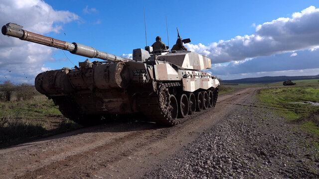 british challenger II tank, demonstrating firepower on salisbury plain