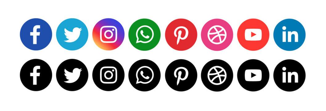 Social media icons on white background editorial illustrative