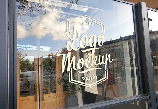 Logo on Glass Storefront Mockup