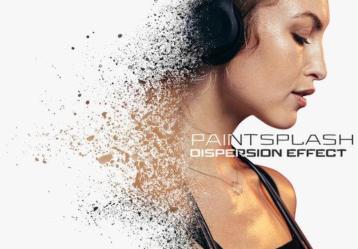 Dispersion Photo Effect with Paint Splash Mockup