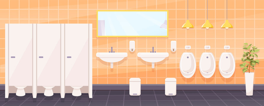 Public toilet for men, empty wc restroom interior with closed cubicles, urinals, washbasins with mirror and liquid soap, litter bin on tiled floor, Cartoon vector illustration