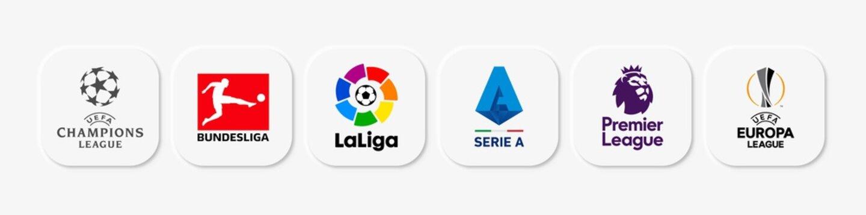 Vector illustration of popular european league web buttons. UEFA Champions Leagus, Bundesliga, La Liga, Serie A, Premier League and UEFA Europa League.  Neomorphism style. For editorial use.