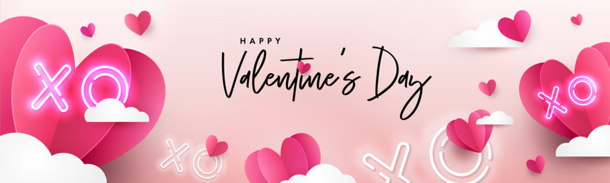 Valentines Day modern background design for Website header, greeting or Sale banner, flyer, poster in paper cut style with frame made of cute flying Origami Hearts over clouds and neon XO text symbol