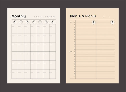 2 Set of Monthly and Plan A & B Planner memo. Retro planner Bullet journal memo pad. Clear and simple printable to do list. Realistic vector illustration.