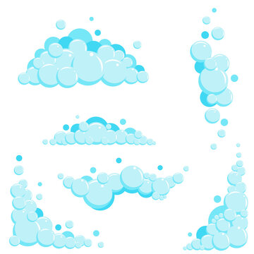 Cartoon soap foam set with bubbles. Light blue suds of bath, shampoo, shaving, mousse. Vector illustration