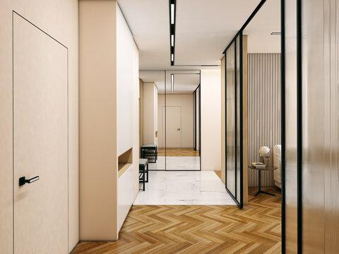 modern hallway in light colors