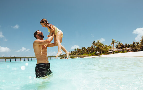 Father and daughter on a holiday