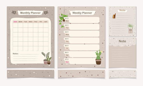 Set of minimal planner templet with monthly, weekly and note page design template