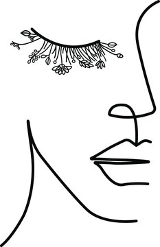 Floral minimal woman face. Art of half face. One line drawing.
