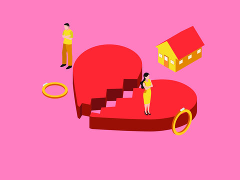 Divorce or broken heart isometric 3d vector concept for banner, website, illustration, landing page, flyer, etc.