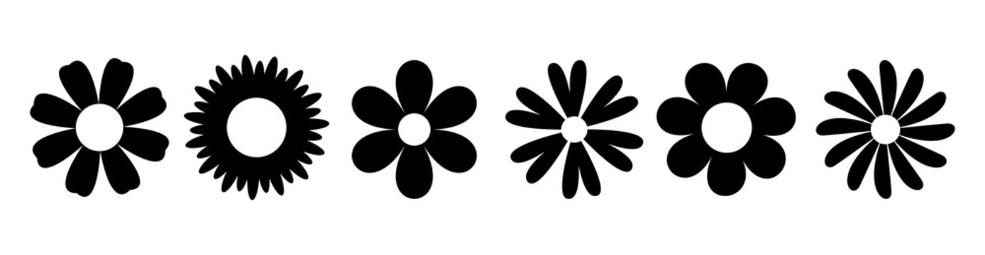 Daisy Camomile. Six chamomile silhouette shape icon line set. Cute round flower plant nature collection. Love symbol. Growing concept. Decoration element. Flat design. White background.