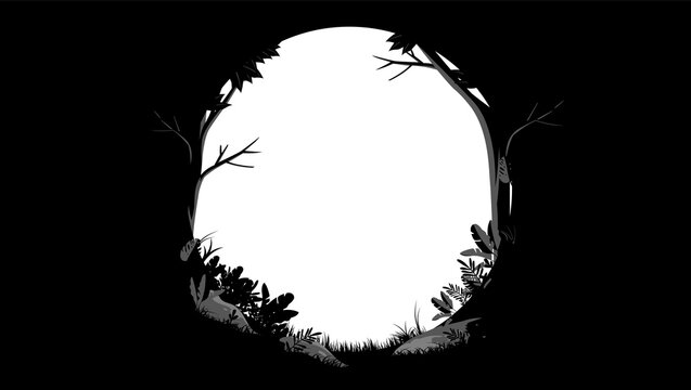 Forest and nature frame - Oval border in black and white colours with empty hole in middle, vector illustration.