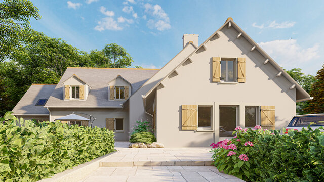 Classical pitched roof house with pool garden and garage