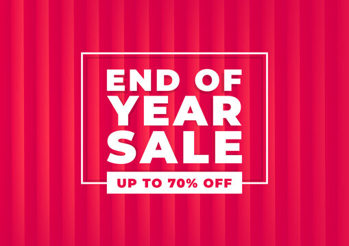 End of year sale banner. Red background special offers and promotion template design.
