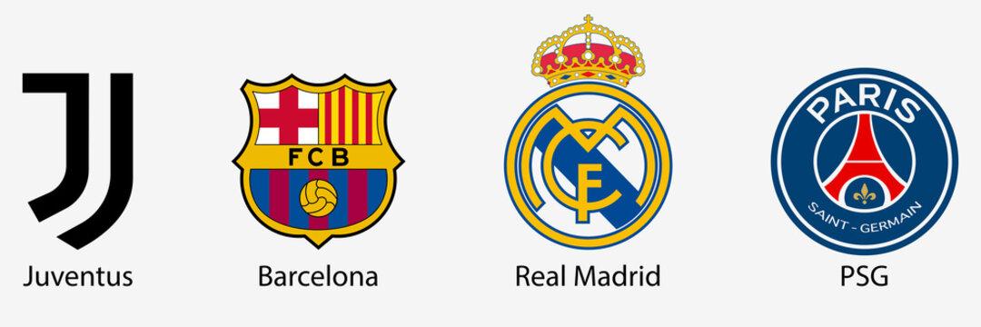 Barcelona, Juventus, Real Madrid, PSG. Football club logo. Fifa champions league club. FC Barcelona and Real Madrid. Paris Saint Germain and Juventus. Editorial. Rivne, Ukraine - December 10, 2020