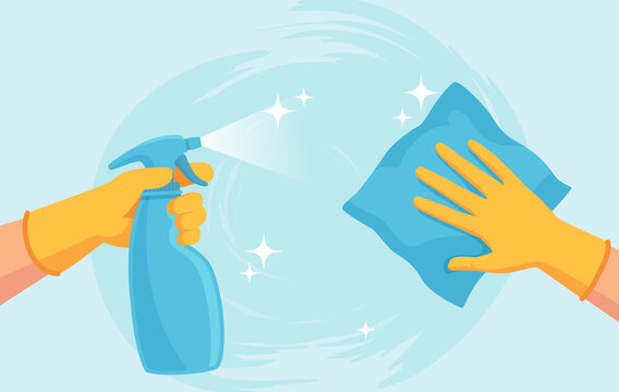 Cleaning surface. Hands in gloves clean with spray and wipe. Sanitizing home from virus and bacteria. Coronavirus prevention vector concept