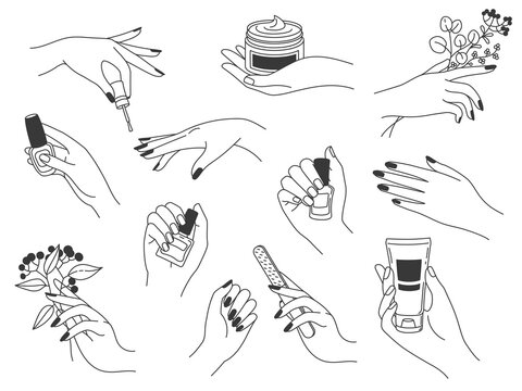 Hand manicure and care. Female logos for nail cosmetics and beauty spa salon. Hands paint, file nails, holding polish and cream, vector set