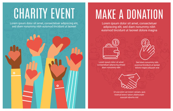 Charity event flyer. Donation and volunteering poster. Hands donate hearts and line icon elements. Community help brochure vector concept