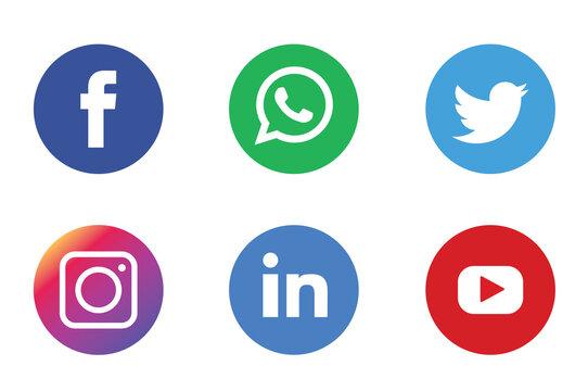 Social media logos on white background, editorial illustrative. Facebook, twitter, WhatsApp, instagram, Skype, snapchat, tumblr, google, Spotify, LinkedIn and more