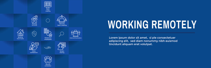 Fototapeta Remote work icon set with web header banner obraz