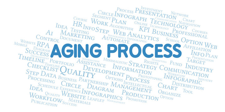Aging Process typography word cloud create with the text only.