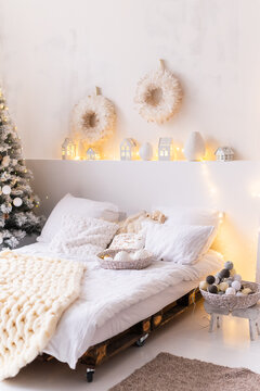 Bedroom decorated in Christmas style