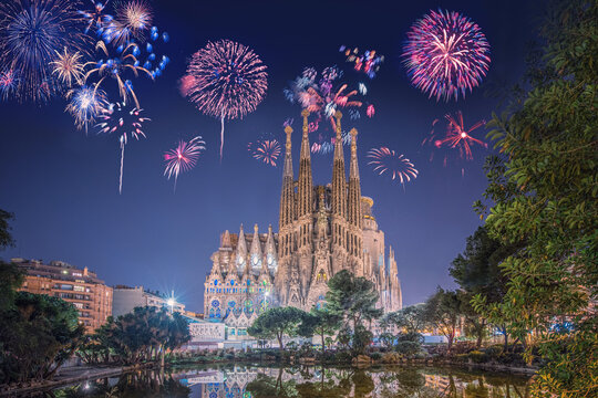 Fireworks in Barcelona (Spain) during New Year's celebration