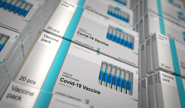 Covid-19 Vaccine pack production line 3d illustration